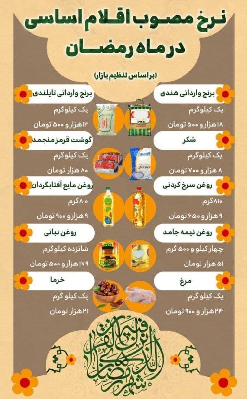 نرخ مصوب اقلام اساسی در ماه رمضان