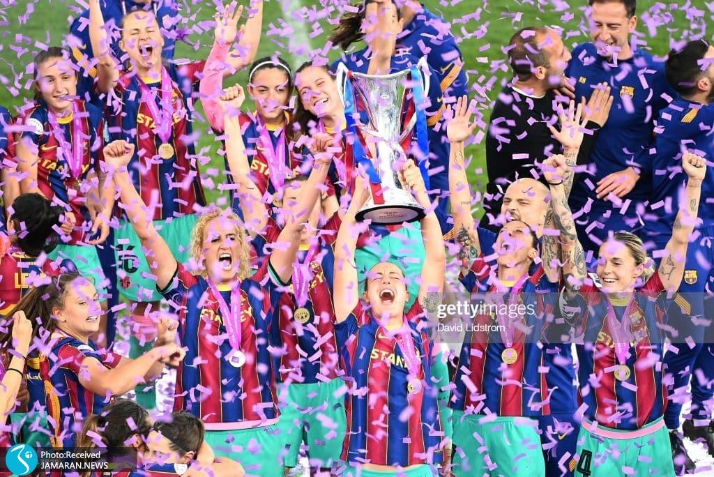جشن قهرمانی زنان بارسلونا در فینال لیگ قهرمانان اروپا