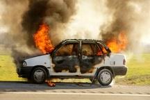 آتش سوزی پراید بر اثر واژگونی در آزاد را قزوین -کرج