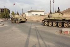 کاروان بزرگی از ارتش سوریه در خط تماس با نیروهای ترکیه در الرقه مستقر شد