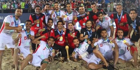 مراسم اهدای جام رقابت های فوتبال ساحلی بین قاره ای به ایران +فیلم