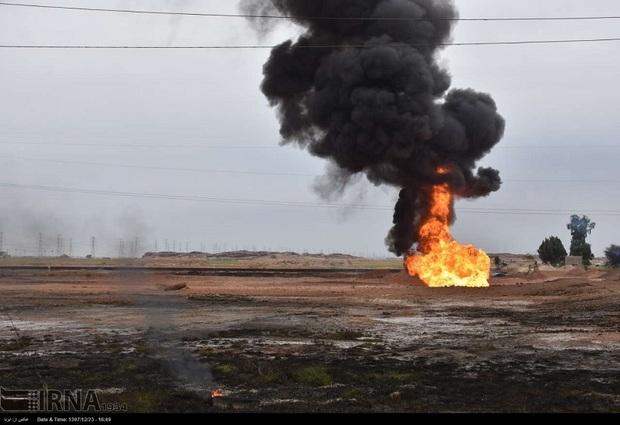 انفجار خط لوله گاز اهواز 10میلیارد ریال به خطوط برق خسارت زد