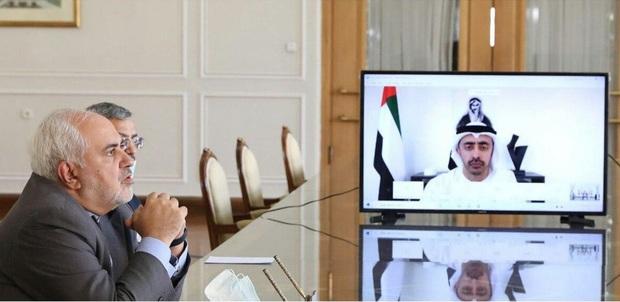 گفت و گوی ویدیویی ظریف با وزیر امور خارجه امارات