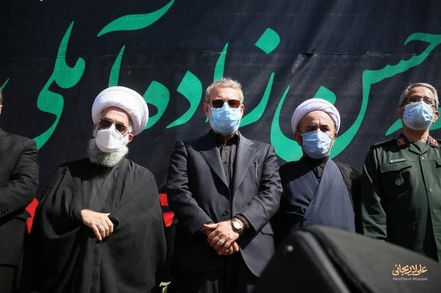 حضور علی لاریجانی در مراسم تشییع پیکر علامه حسنزاده آملی
