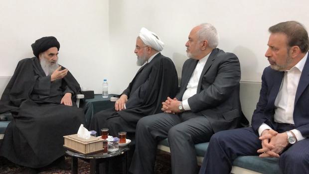 تصویری از ملاقات رییس جمهور با آیت الله العظمی سیستانی