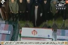 گریه های رهبر انقلاب هنگام اقامه نماز بر پیکر سردار شهید سپهبد سلیمانی