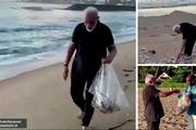 عکس/ نخست وزیر هند در حال جمع آوری زباله