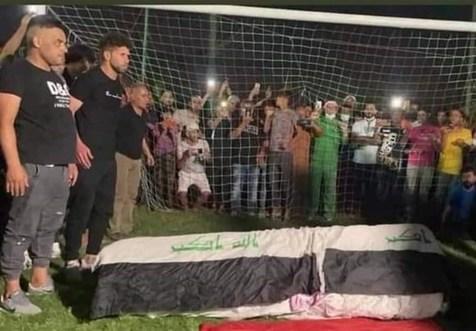 مراسم خاکسپاری دروازه بان عراقی در حرم مطهر امام علی (ع) + تصاویر