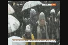بازتاب حضور مردم رشت در راهپیمایی ۲۲ بهمن در هوای برفی در شبکه المیادین لبنان