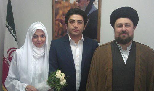 مراسم عقدکنان فرزاد حسنی و آزاده نامداری توسط یادگار امام/ تصاویر