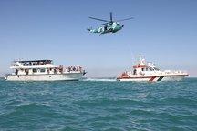 مانور جست و جو و نجات دریایی و هوایی در آب های استان بوشهر برگزار شد