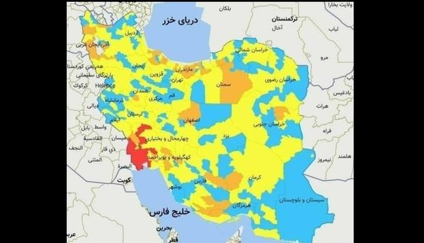اسامی استان ها و شهرستان های در وضعیت قرمز و نارنجی / جمعه 1 اسفند 99