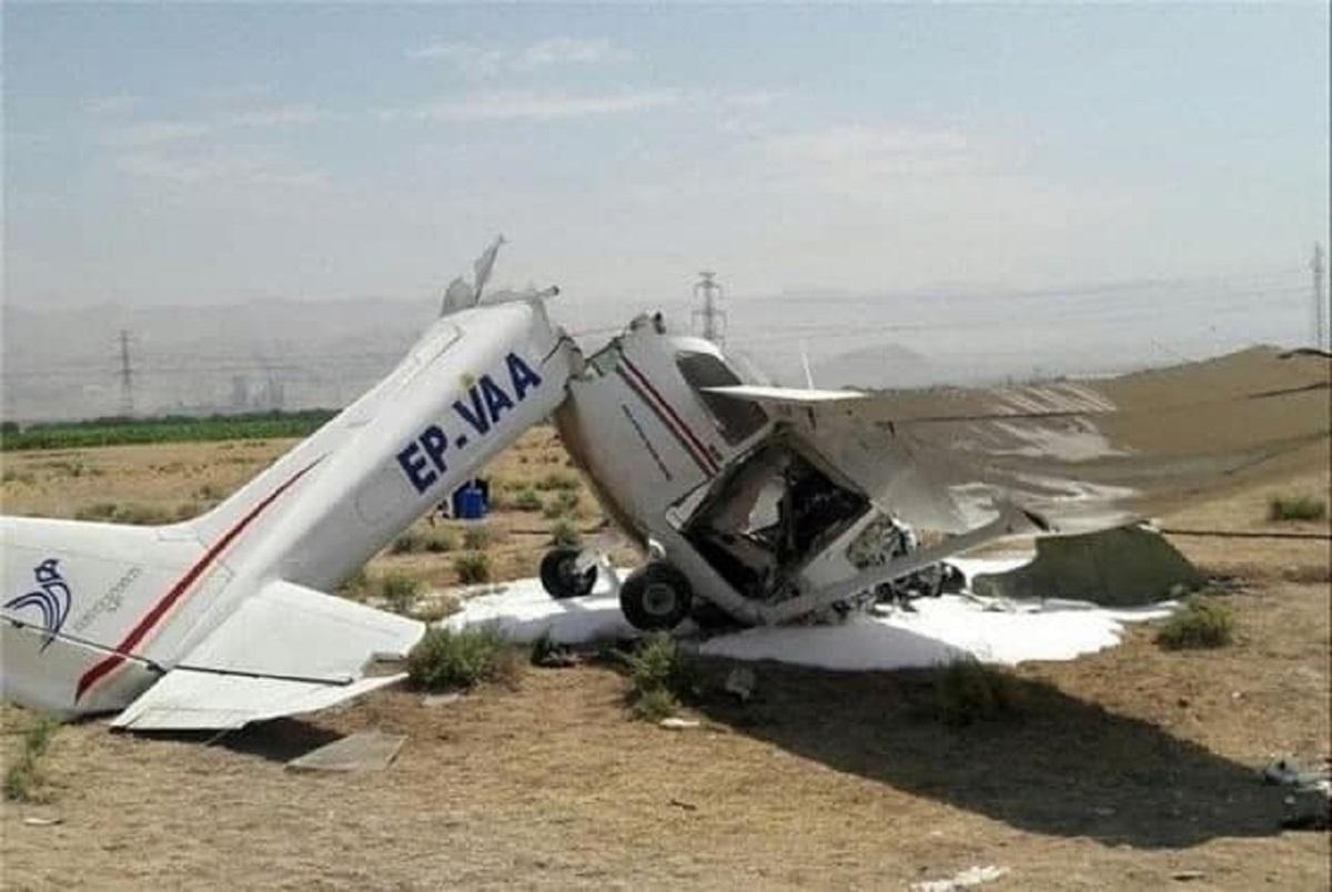 دو کشته در سقوط یک فروند هواپیمای آموزشی سبک در شمال فرودگاه بجنورد + عکس