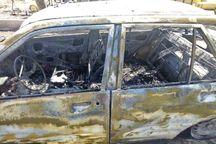 آتش سوزی پراید بر اثر واژگونی در آزادراه قزوین-کرج