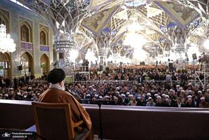 حضور و سخنرانی رهبر معظم انقلاب در اجتماع زائران و مجاوران حرم مطهر رضوی