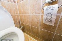 تصویر پوتین روی دستمال توالت وزیر دفاع انگلیس!