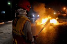 یک دستگاه خودرو سواری پراید در نوشهر دچار حریق شد
