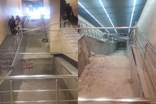 وضعیت خطرناک ایستگاه متروی شادمان و امکان وقوع حادثه برای شهروندان