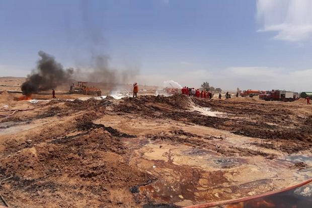 آتش سوزی در خطوط لوله نفت و گاز امیدیه کاملا مهار شد
