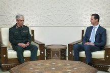 سرلشکر باقری پیام رهبر انقلاب را به رئیسجمهوری سوریه تسلیم کرد