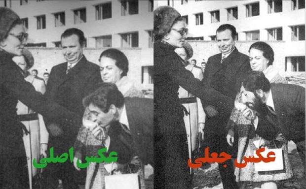 تکذیب عکس دستبوسی منتسب به حدادعادل توسط پسرش + تصویر
