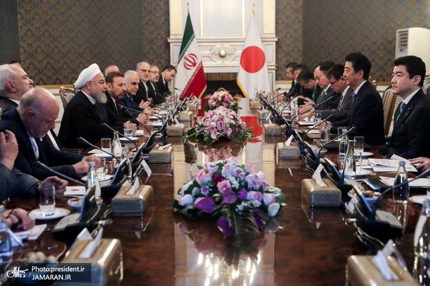 تصاویر؛ دیدار رئیس جمهور با نخست وزیر ژاپن/ نشست مشترک ایران و ژاپن