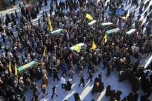 پیکرهای مطهر هفت شهید مدافع حرم در قم تشییع شد