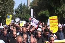 نمازگزاران قزوینی علیه سیاست های ضد ایرانی ترامپ راهپیمایی کردند
