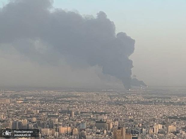 آتشسوزی در پالایشگاه شهید تندگویان تهران/ دود غلیظ از مناطق جنوبی تهران + فیلم و تصاویر